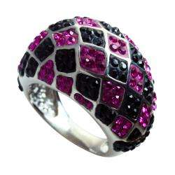 Sterling Silver Pink and Black Crystal Diamond Pattern Ring