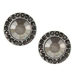 Morgan Ashleigh Silvertone Black Crystal Stud Earrings
