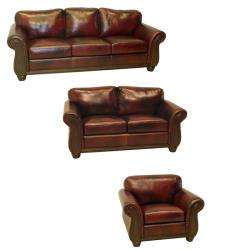 Conrad Wine Italian Leather Sofa, Loveseat and Chair