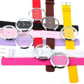 Wholesale Transparent Dial Boy Girl Lady Women Mens Quartz Watch Gift