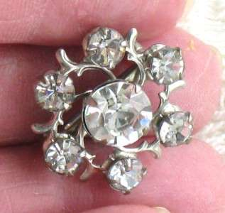 VINTAGE PRONG SET SILVERTONE CLEAR RHINESTONE VICTORIAN STYLE SCATTER