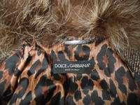 DOLCE $ GABBANA Brown/Tan Boucle Tweed Skirt Suit/Raccoon Collar 38