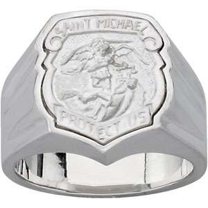 R43053 / Sterling Silver / Size 4 14 / Polished / St Michael Badge