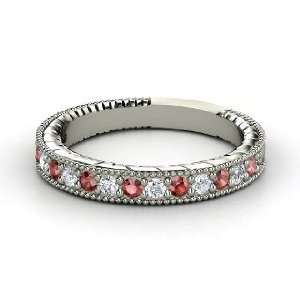 Victoria Band, 14K White Gold Ring with Red Garnet