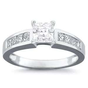 1 Carat Princess Diamond 14k White Gold Engagement Ring Jewelry