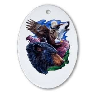 Ornament (Oval) Bear Bald Eagle and Wolf: Everything Else
