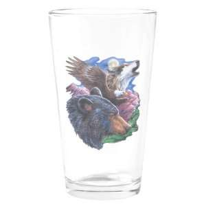Pint Drinking Glass Bear Bald Eagle and Wolf: Everything Else