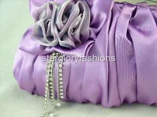 Lt Purple Wedding Purse Clutch Jeweled Crystal Tassel