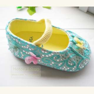 Sweet Blue Infant Baby Girls Butterfly Soft Sole Shoes 12 18m ST235