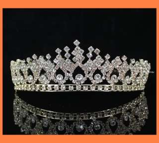 SHINY CLEAR RHINESTONE TIARA CROWN W/ COMBS PARTY WEDDING BRIDAL PROM