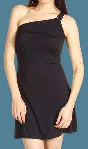 Michael Kors Black One Shoulder Logo Ring Swim Dress Cover Up Medium M