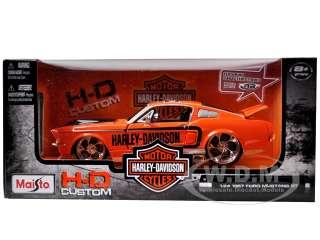 car model of 1967 Ford Mustang GT Harley Davidson Orange die cast car