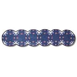 Double Wedding Ring 16x72 inch Blue Table Runner