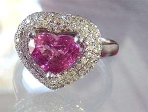 18 kt White Gold 2.39 tcw Pink Heat Cut Sapphire & Diamond Ring