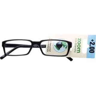 Zoom Eco Friendly Reading Glasses Mens, Black, +2.00 Vision