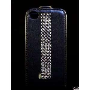 iPhone 4 4s Leather Flip Case, Swarovski Crystal Bling