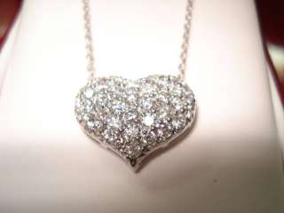 14K WG DIAMOND HEART PENDANT NECKLACE FVS2 1.08ct