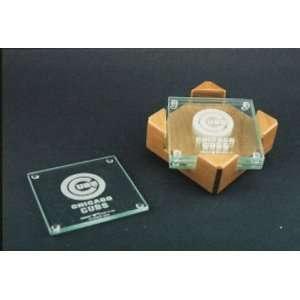 Cubs Glass Coaster Set with Alder Wood Holder