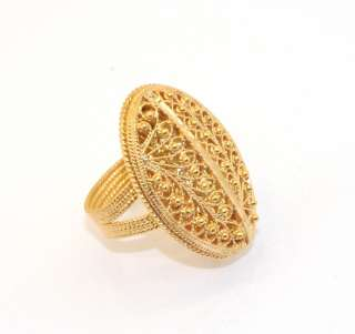 Domed Oval Filigree Ring 14K Yellow Gold Clad Sterling Silver Size 9