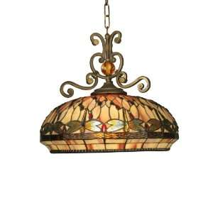 Dale Tiffany TH10097 Dragonfly Pendant Light , Antique Golden Sand and