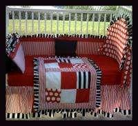 NEW baby crib bedding set BLACK RED STRIPE POLKA DOT
