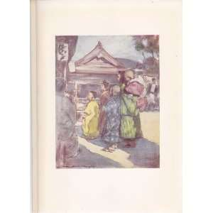 1905 Original Print Watching the Play from Japan A Record in Colour