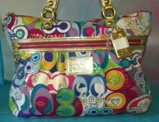 COACH POPPY POP C GLAM Signature OP ART Purple Multi LG Tote Bag 15293