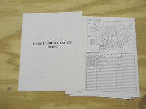 Kubota D640 diesel engine parts book