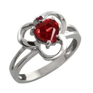 0.91 Ct Genuine Heart Shape Red Garnet Gemstone Sterling