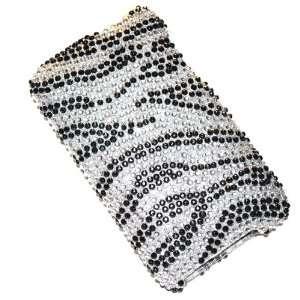 New Black Silver Zebra Stripe Sparkling Rhinestones Full Diamond Bling