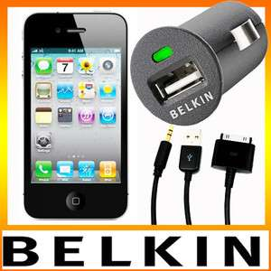 Belkin Car Charger + AUX Audio Cable for iPhone iPod iPad