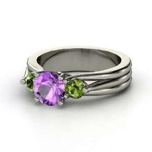 Three Part Harmony Ring, Round Amethyst 14K White Gold Ring with Green