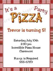 10 Personalized PIZZA PARTY Birthday Invitations