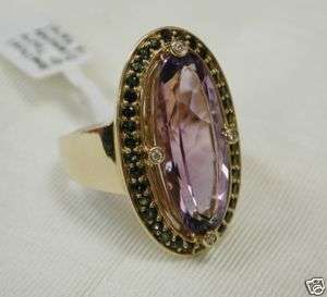 Amethyst Green Tourmaline & Diamond Ring 14K Yellow