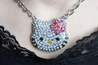 HELLO KITTY PINK FLOWER NECKLACE WITH SWAROVSKI CRYSTAL