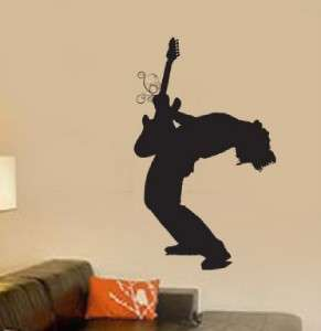 Vinyl Wall Art Decal Sticker Rock n Roll Guitar Player