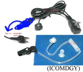 Earpiece Acoustic Covert Coil tube Ear Mic for ICOM