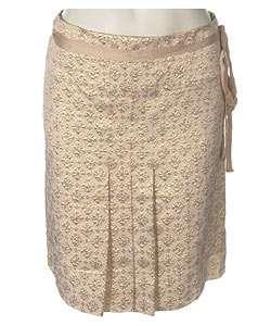 Prada Silk Blend Gold Lame Skirt