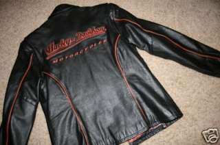 Womens BLACK LEATHER  Harley Davidson Motercycles Jacket   S Small