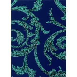 green florals on dark blue background IRR20204w