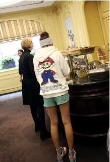 Lady Cartoon Printed High collar Hoodie Sweater 8116