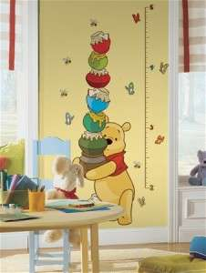 New WINNIE THE POOH GROWTH CHART WALL DECALS Stickers 034878992792