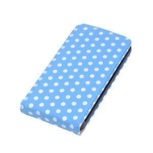 Faux Leather White Spot Blue Folio Case Cover For Samsung