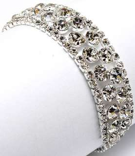 Bridal Jewelry Crystal Rhinestone Bracelet White 4 Row
