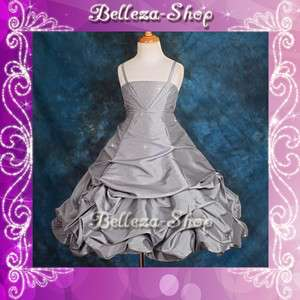 Gray Wedding Flower Girls Pick Up Dresses Pageant Party Size 4 5 FG151