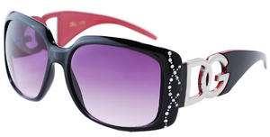 New DG Womens Black & Pink Rhinestone Rimmed Sunglasses