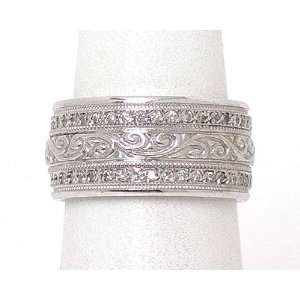 INTRICATE 14k WHITE GOLD & DIAMONDS WIDE BAND RING Jewelry