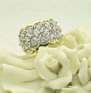 Estate 14k Two Tone Gold Cluster Diamonds Ring 7.3 gr