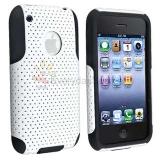 BLACK Gel / White Mesh Hard Case+Privacy Protector For iPhone 3 3G 3GS