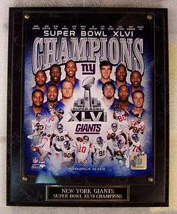 NEW YORK GIANTS SUPER BOWL XLVI CHAMPS PLAQUE 2 DAY MAIL GIFT BOX FREE